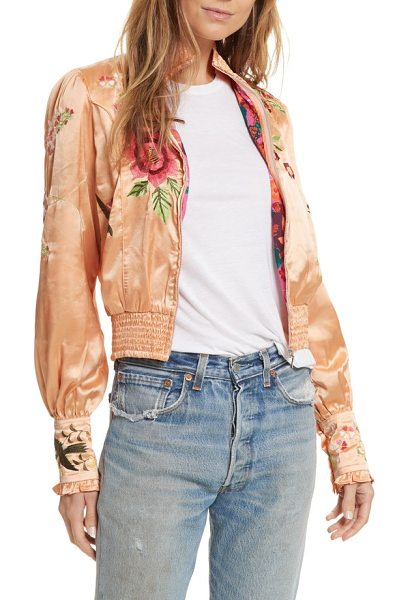 Free People just peachy silk bomber jacket in peach - A fanciful rendition of the classic bomber, this one is...