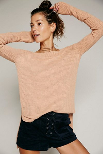 Free People Kate thermal in brown - Super cozy long sleeve thermal featuring a sultry...