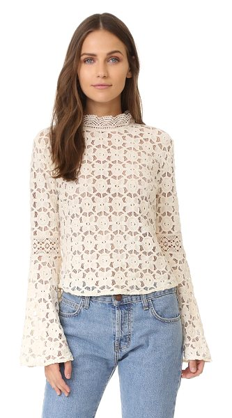 Free People kiss & bell lace top in cream - A delicate lace Free People blouse with a...