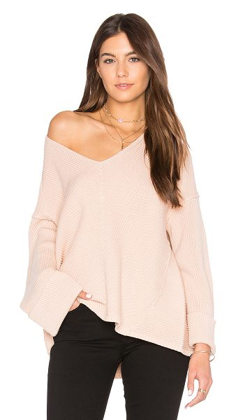 Free People La Brea V Neck Sweater in pink - 100% cotton. Hand wash cold. Rib knit fabric....