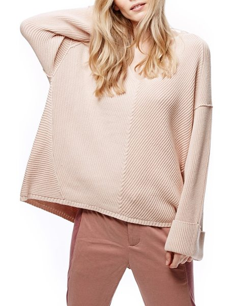 Free People la brea v-neck sweater in pink - Dropped shoulders and bell sleeves play with the...