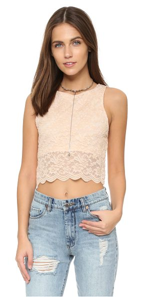 Free People Lace crop tank in almond - A lace overlay details this Free People crop top. Back...