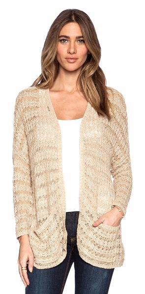 Free People Last night stripe cardigan in tan - 47% cotton 35% rayon 15% linen. Hand wash cold. Open...