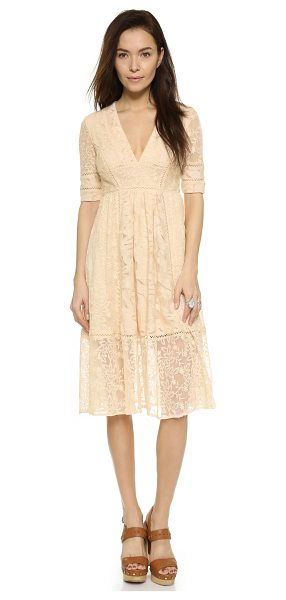 Free People Laurel lace dress in almond - Allover embroidery brings intricate detail to this...