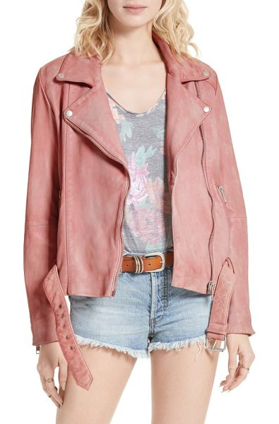 FREE PEOPLE leather moto jacket - A pretty bubblegum-pink hue tempers the biker-chic edge...