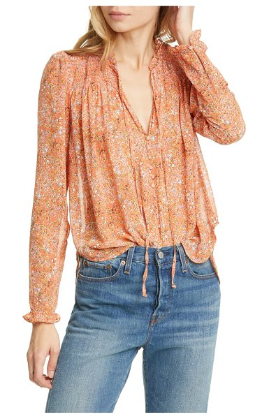 Free People lela floral smocked ruffle blouse in coral