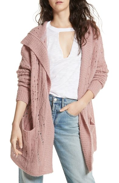 Free People lemon drop hooded cardigan in rose - Elevate your off-duty style with a pointelle-knit...