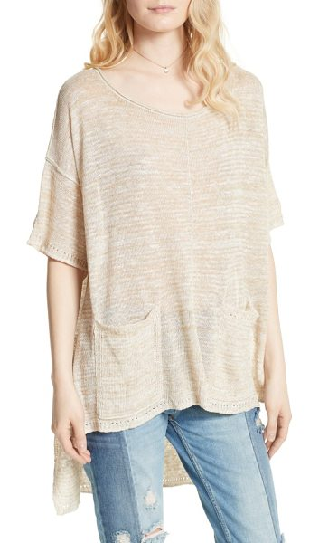 Free People light bright high/low sweater in beige - Slouchy, swingy and ultrasoft, this breezy linen-blend...