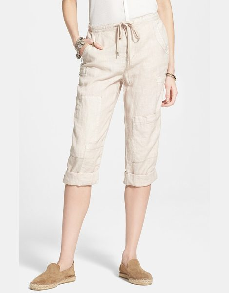 Free People linen crop utility pants in sand - An allover smattering of pockets brings offbeat...