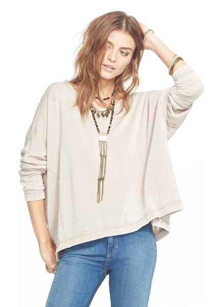 Free People little ann pullover in light tan - Reverse seams highlight the paneled construction of a...