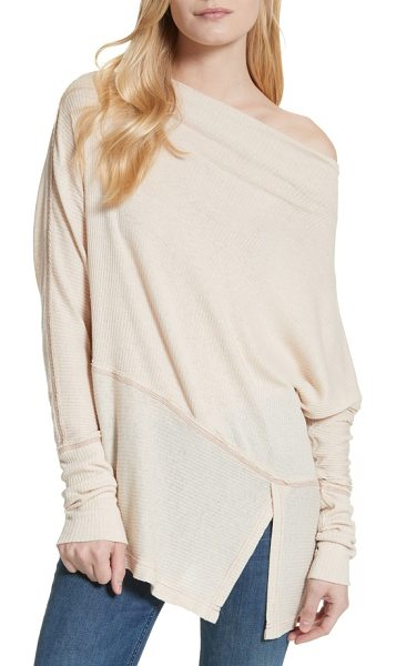 Free People londontown thermal tee in beige - A ribbed knit enhances the casual-chic style of a...