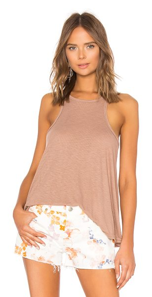 Free People Long Beach Tank in taupe - 65% poly 35% rayon. Rib knit fabric. FREE-WS2049....