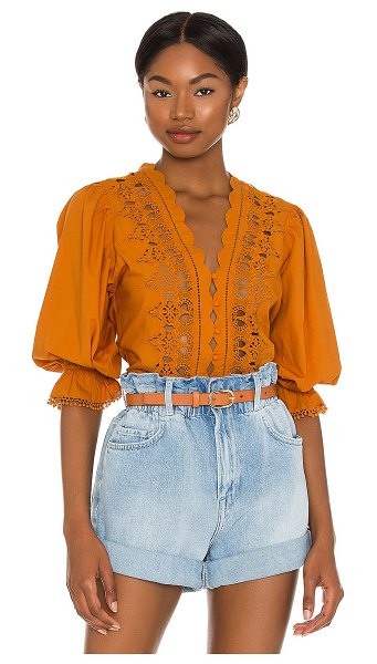 Free People louella embroidered top in tawny
