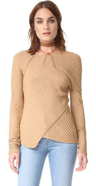 Free People love and harmony sweater in beige - Tonal piping trims the angular seams on this...
