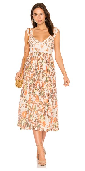Free People Love You Midi Dress in blush - Poly blend. Hand wash cold. Fully lined. Pleated skirt....