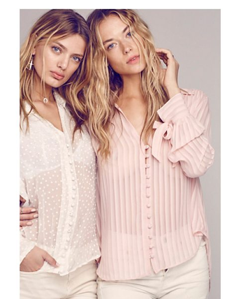Free People Loveliest buttondown in rose - Featuring allover pleat detailing this sheer buttondown...