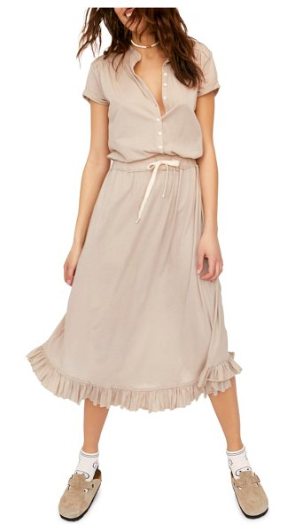 Free People ludrow midi dress in beige - A cinched drawstring waist shapes this breezy cotton...