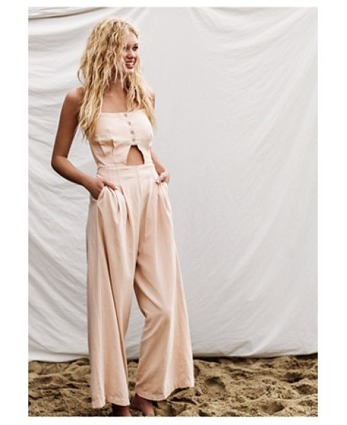 Free People Marbella cutout 1 piece in light peach - Linen-blend jumpsuit featuring a cutout at the midriff...