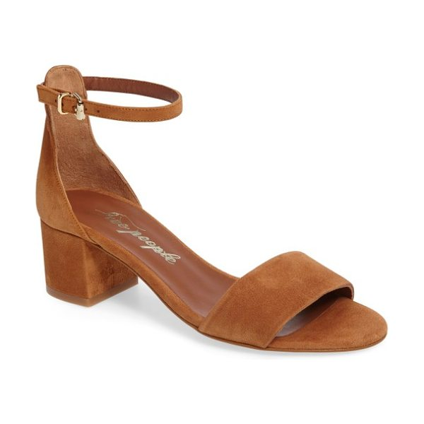 Free People marigold ankle strap sandal in taupe suede