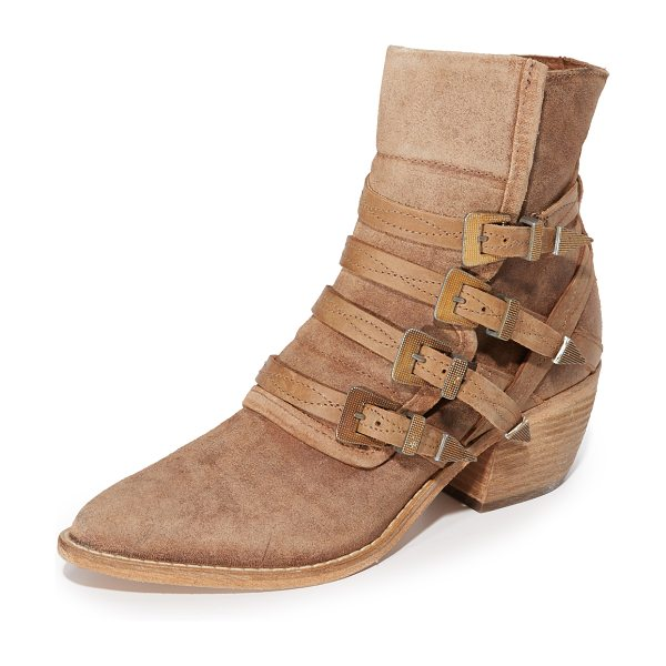 FREE PEOPLE mason western booties - Buckle straps secure the split shaft on these pointed...