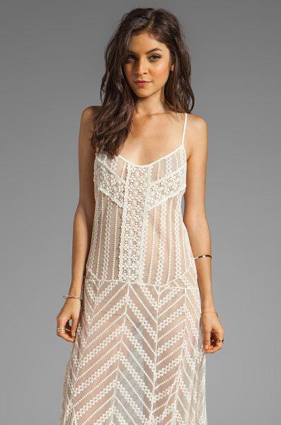 Free People Meadows of lace slip maxi dress in cream - 57% cotton 43% nylon. Unlined. Crochet lace overlay....