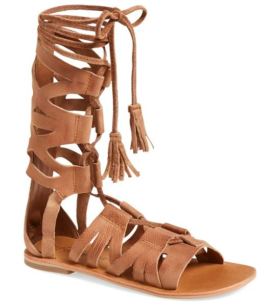 FREE PEOPLE mesa verde tall gladiator sandal in tan leather - Bold geometric cutouts put a contemporary spin on a...