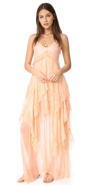 Free People midnight rendezvous maxi dress in pink - Airy tiers lend fluid movement to this metallic Free...