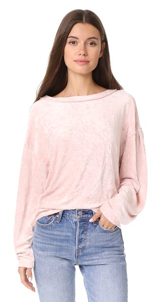 Free People milan layering top in pink - This soft velour Free People shirt has a wide, banded...