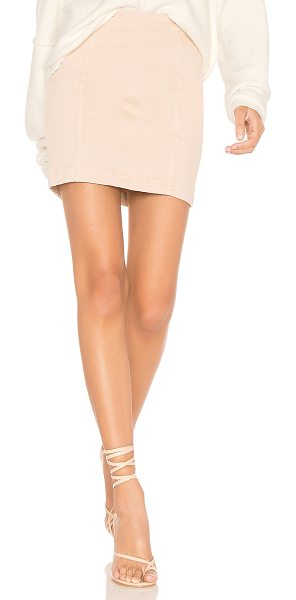 "Free People Modern Femme Denim Mini Skirt in beige - ""Cotton blend. Unlined. Hidden back zipper closure...."