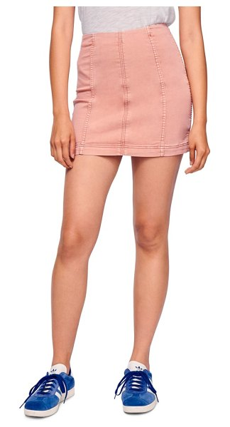 Free People we the free by  modern denim skirt in beige - Crafted from soft stretch denim, this skirt has simply...