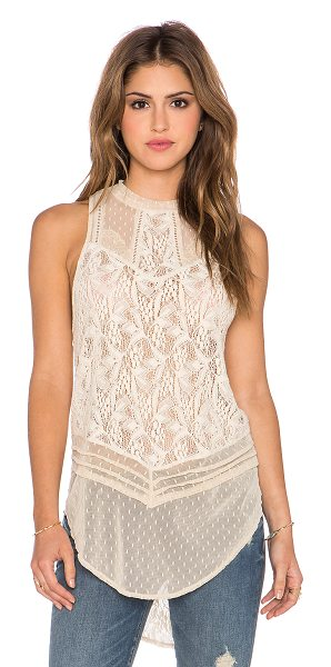 FREE PEOPLE Modern mesh tank in tan - Body: 100% nylonTrim: 55% cotton 45% nylon. Back keyhole...