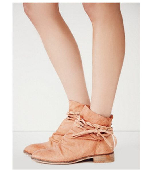 Free People Moonshine wrap boot in coral - Rugged leather ankle boots featuring a leather wrap...