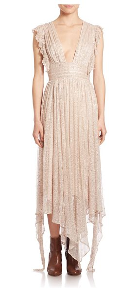 Free People my antonia deep v-neck maxi dress in ballet - Romantic ruffled maxi finished with a touch of shimmer....