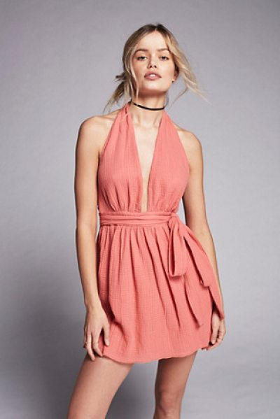Free People Nadja halter dress in washed rose - Made in New York this halter dress features an airy...