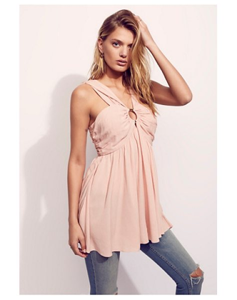 Free People Nessa ring tunic in blush rose - Swingy and semi-sheer sleeveless tunic featuring pleat...