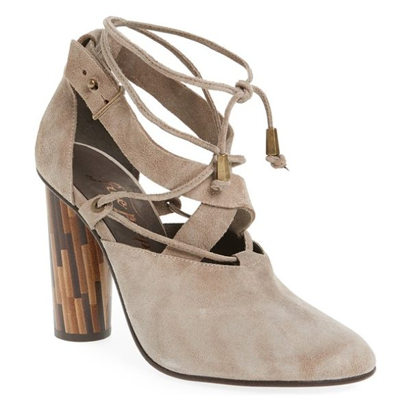 Free People 'nouvella' lace-up pump in taupe suede