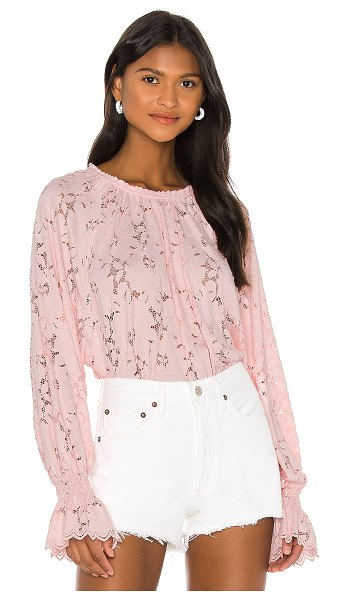 Free People olivia lace tee in pink