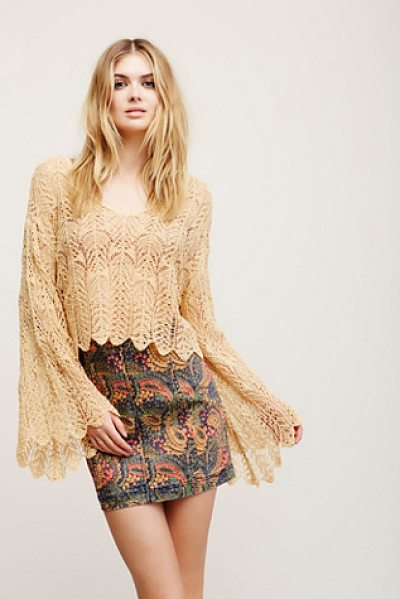 Free People Once an angel pullover in caramel