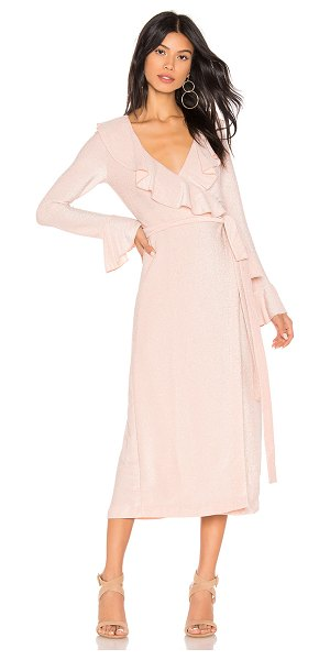 Free People One More Time Lurex Wrap Dress in blush - 63% poly 26% rayon 6% metallic 5% spandex. Unlined....