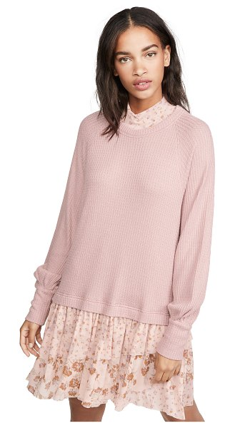 Free People opposites attract mini dress in pearl mauve combo