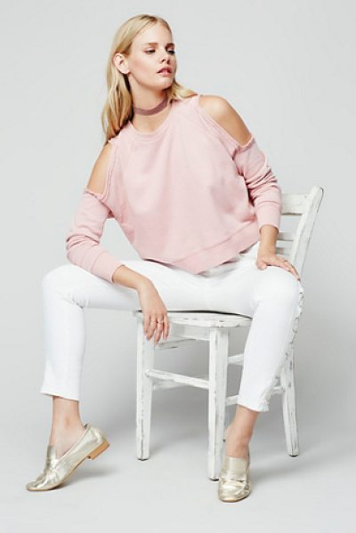 Free People Out west pullover in ballet - Classic cotton crew neck pullover featuring cold...