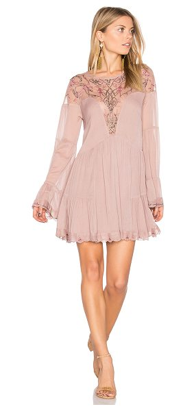 Free People Panama City Mini Dress in mauve - Shell: 100% nylonContrast: 100% polyLining: 96% rayon 4%...