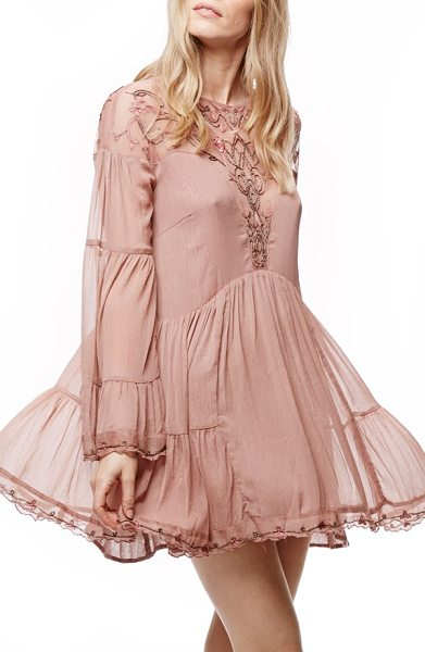 Free People panama city minidress in mauve - Cropped and feminine, this breezy minidress made of...