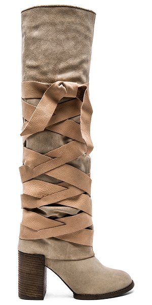 Free People Paradiso wrap boot in beige - Suede upper with rubber sole. Leather wrap detail with...