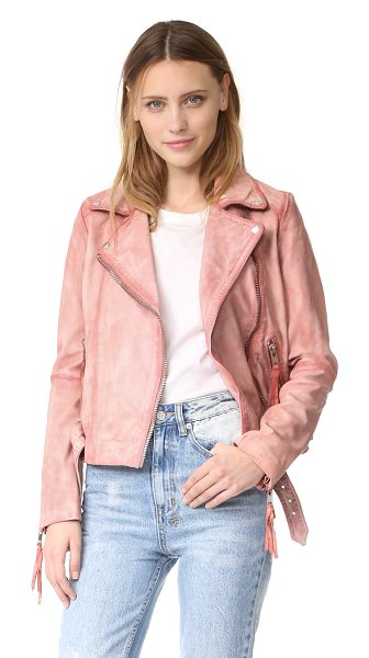 FREE PEOPLE pink leather moto jacket - A mottled wash lends a watercolor-streaked effect to...