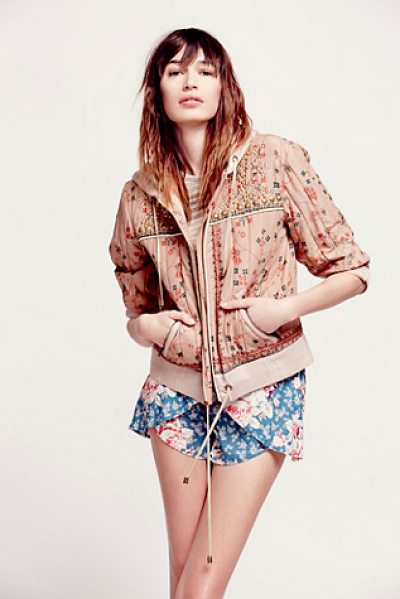 Free People Play my song hooded jacket in cotton candy - Printed cotton voile hooded quilted jacket that is...