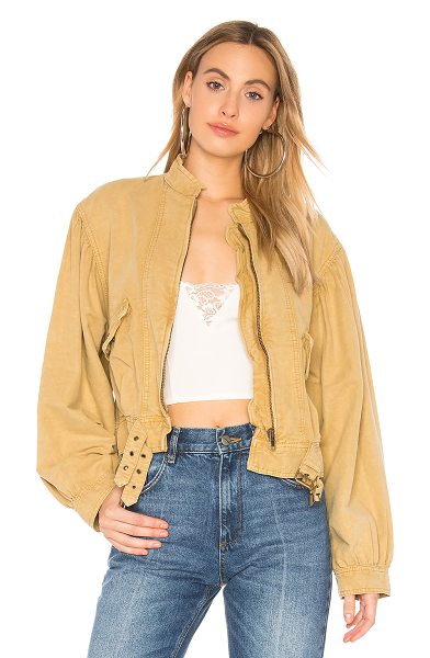 Free People Poet Jacket in tan - 53% cotton 47% linen. Zipper front closure. Side flap...