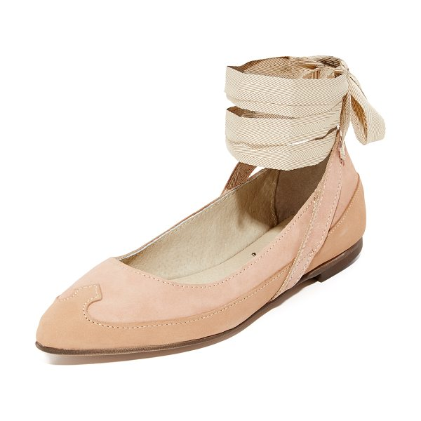 FREE PEOPLE pressley wrap ballet flats - Sculpted panels of of lightly distressed suede compose...
