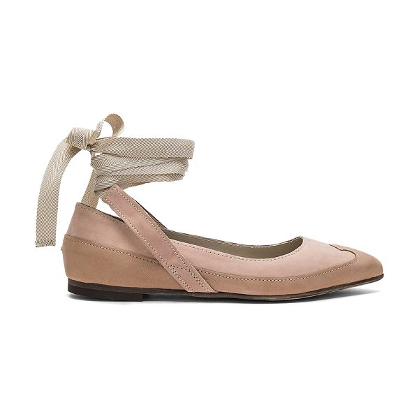 Free People Pressley Wrap Flat in pink - Suede upper with man made sole. Wrap ankle with tie...