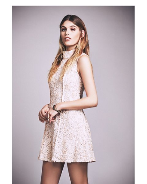 Free People Queen anne mock neck mini dress in almond - Beautiful lace mini dress featuring a flirty skirt and...